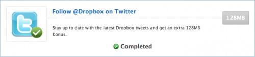 TwitterでDropboxアカウントをフォローする (+128MB)