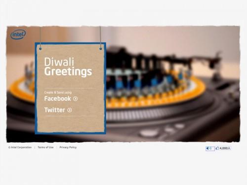 FacebookとTwitterの友達にゾートロープメッセージ「Intel Diwali Greetings」