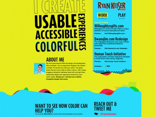 Ryan Keiser - I create usable, accessible and colorful experiences for the web.